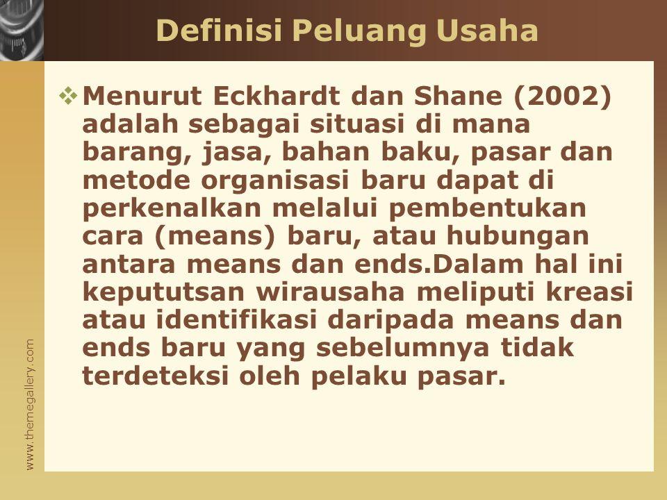 www.themegallery.com Definisi Peluang Usaha  Menurut Eckhardt dan Shane (2002) adalah sebagai situasi di mana barang, jasa, bahan baku, pasar dan met