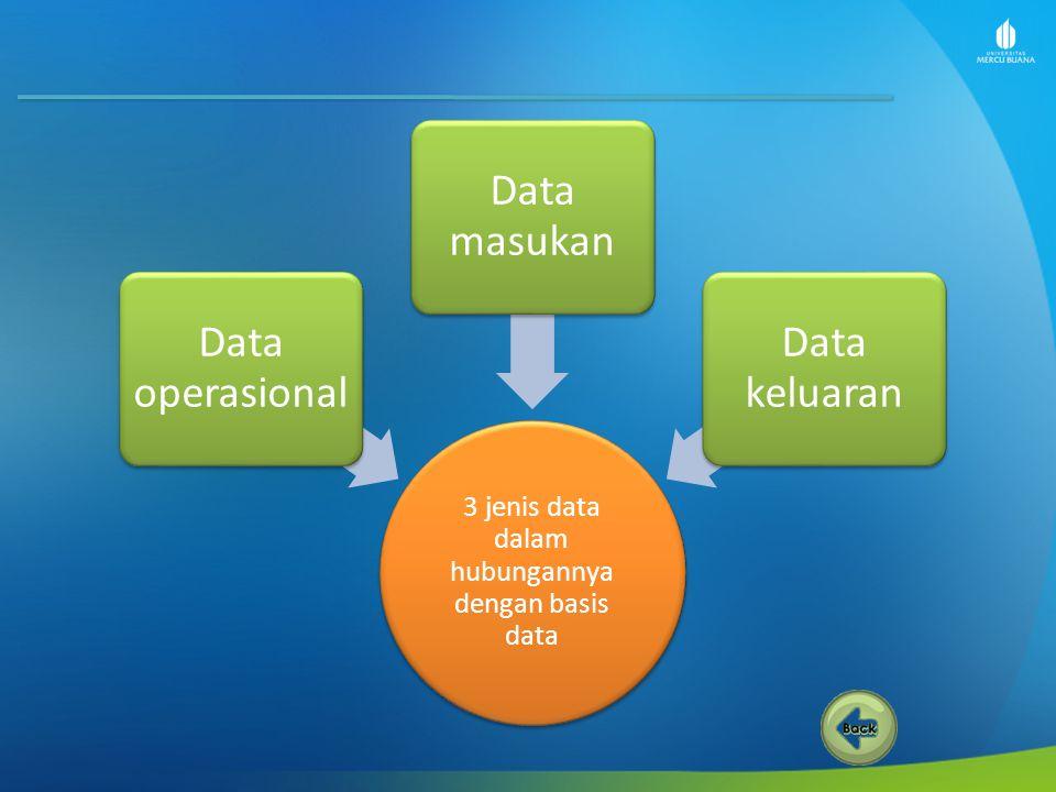 3 jenis data dalam hubungannya dengan basis data Data operasional Data masukan Data keluaran