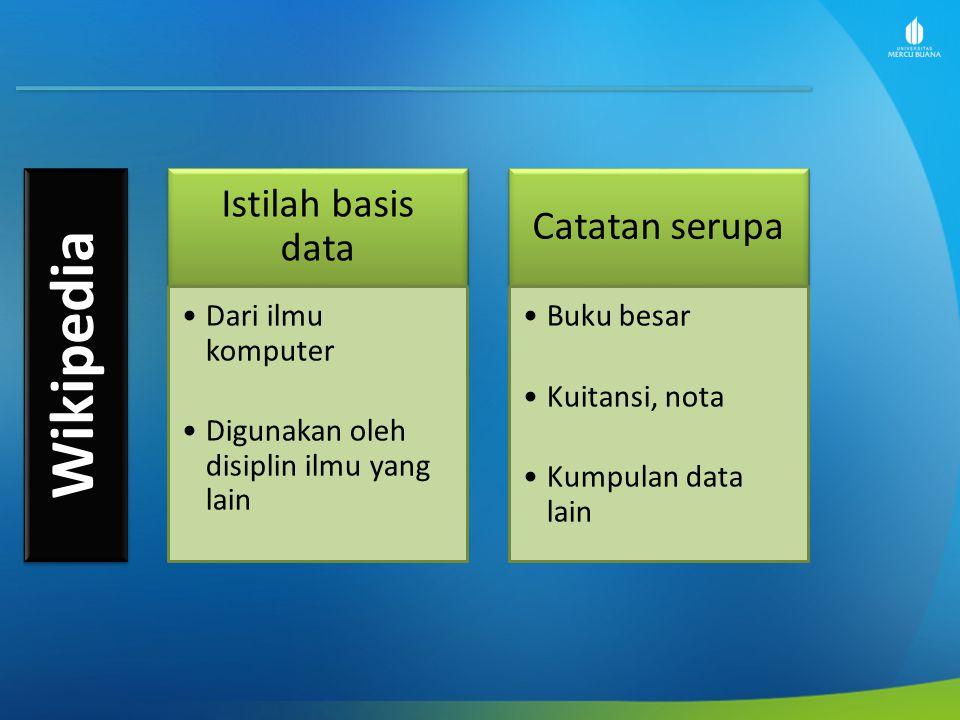 Wikipedia Istilah basis data Dari ilmu komputer Digunakan oleh disiplin ilmu yang lain Catatan serupa Buku besar Kuitansi, nota Kumpulan data lain