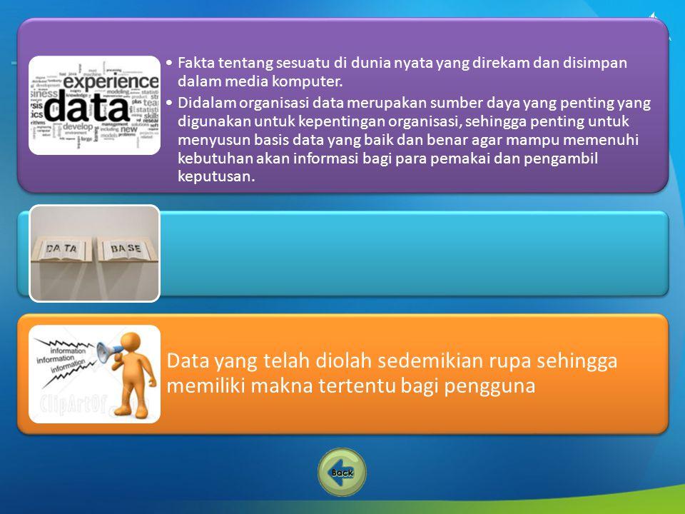 1 Mengurangi kerangkapan data 2 Mencegah ketidak konsistenan 3 Keamanan data terjaga 4 Integritas dapat dipertahankan 5 Sharing data 6 Recovery 7 Kemudahan standarisasi 8 Data mandiri 9 Keterpaduan data terjaga Keuntungan