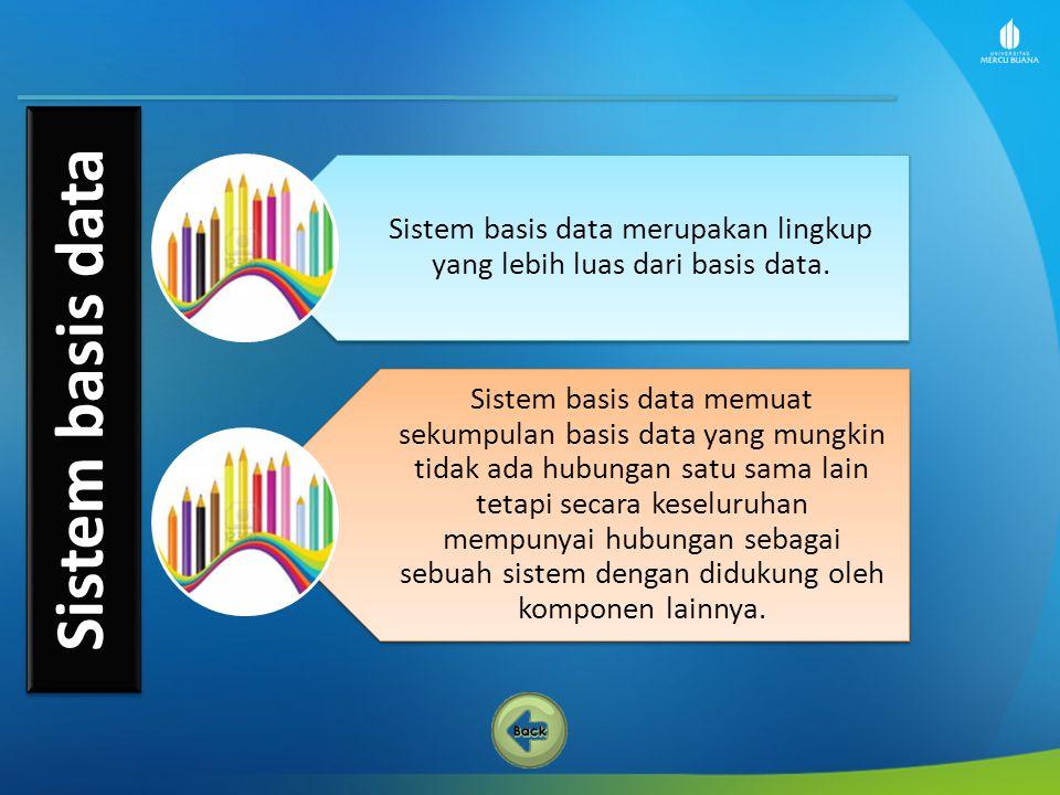 Sistem basis data merupakan lingkup yang lebih luas dari basis data. Sistem basis data memuat sekumpulan basis data yang mungkin tidak ada hubungan sa