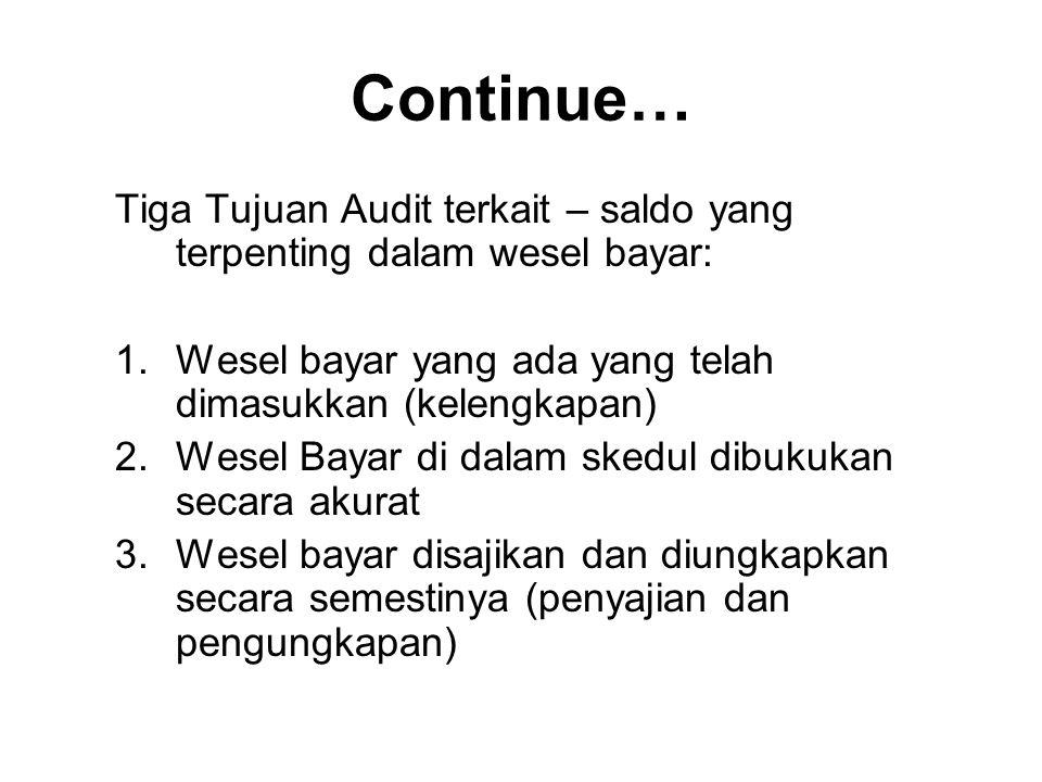 Continue… Tiga Tujuan Audit terkait – saldo yang terpenting dalam wesel bayar: 1.Wesel bayar yang ada yang telah dimasukkan (kelengkapan) 2.Wesel Baya