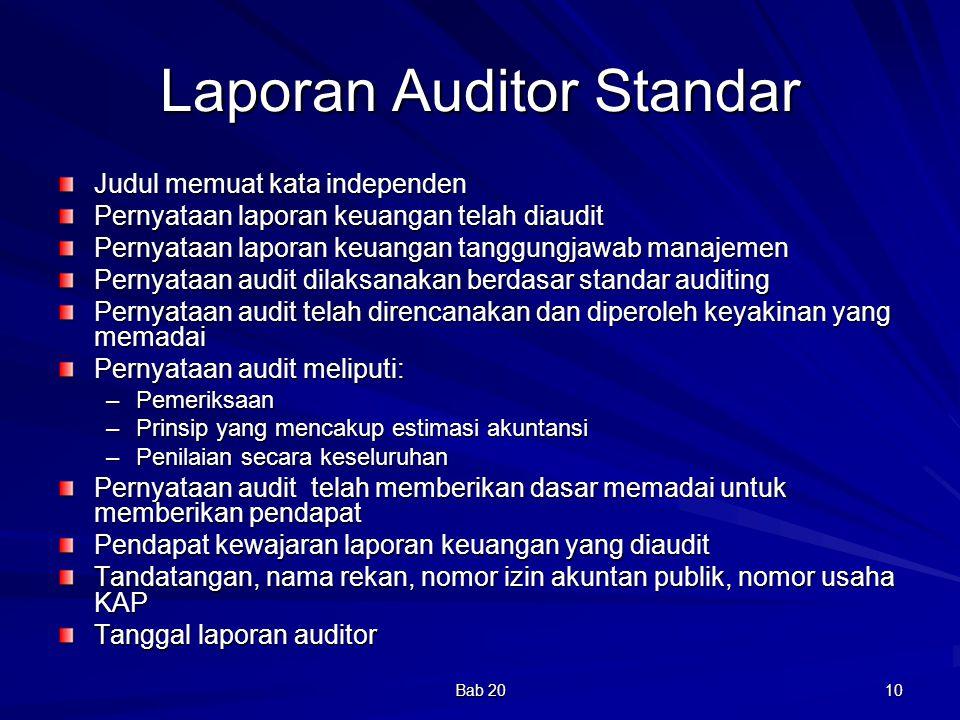 Bab 20 10 Laporan Auditor Standar Judul memuat kata independen Pernyataan laporan keuangan telah diaudit Pernyataan laporan keuangan tanggungjawab man