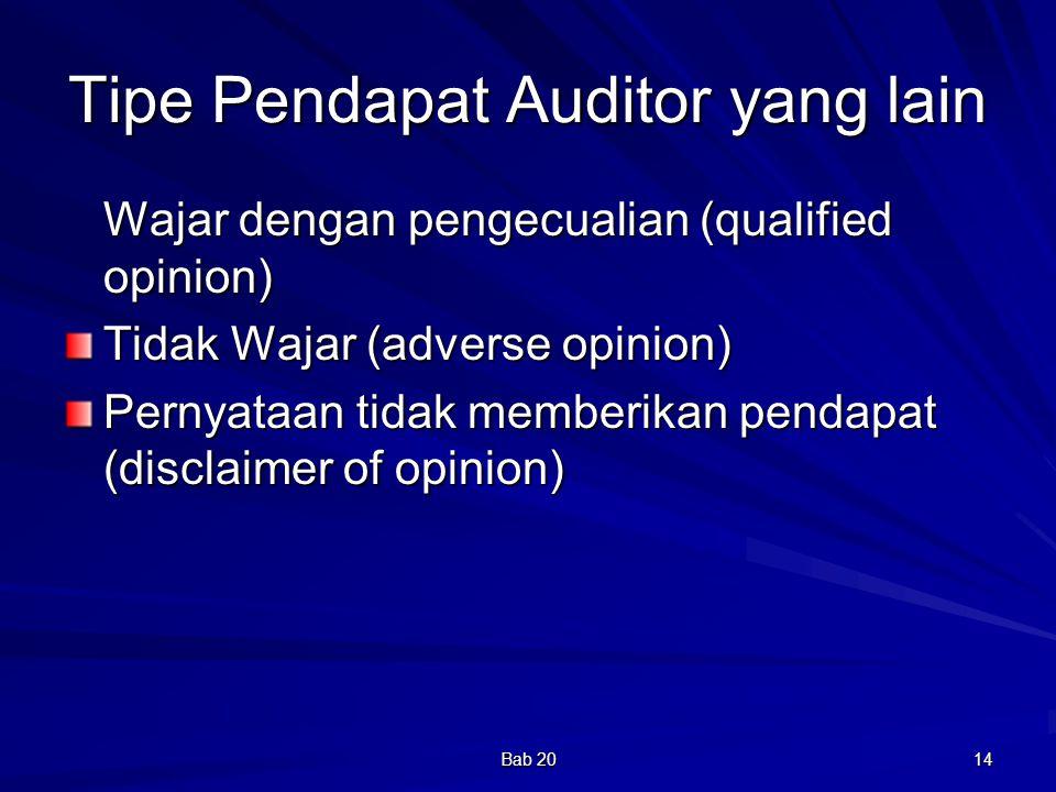 Bab 20 14 Tipe Pendapat Auditor yang lain Wajar dengan pengecualian (qualified opinion) Tidak Wajar (adverse opinion) Pernyataan tidak memberikan pend