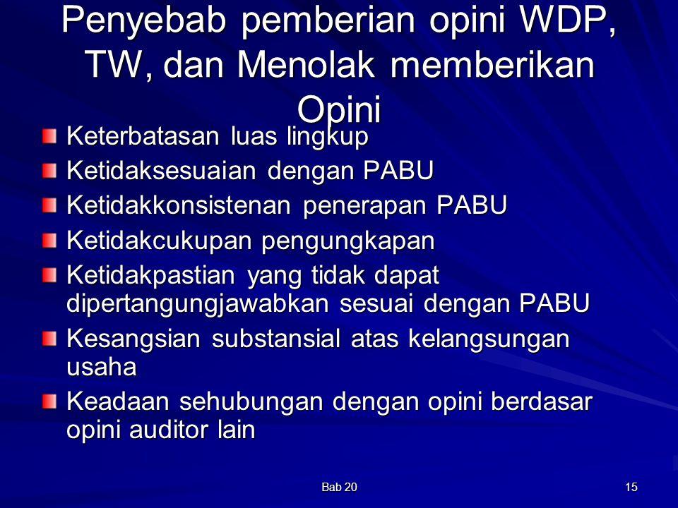 Bab 20 15 Penyebab pemberian opini WDP, TW, dan Menolak memberikan Opini Keterbatasan luas lingkup Ketidaksesuaian dengan PABU Ketidakkonsistenan pene