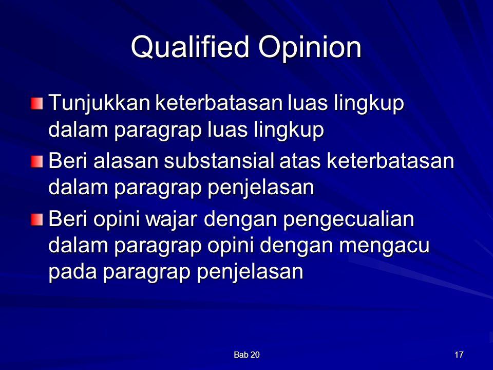 Bab 20 17 Qualified Opinion Tunjukkan keterbatasan luas lingkup dalam paragrap luas lingkup Beri alasan substansial atas keterbatasan dalam paragrap p