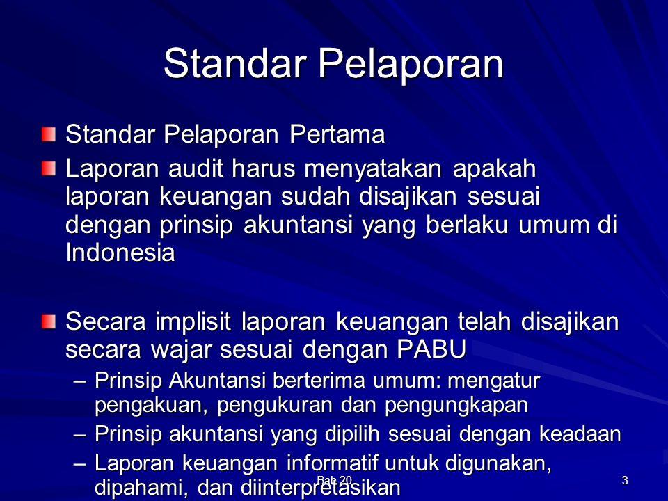 Bab 20 14 Tipe Pendapat Auditor yang lain Wajar dengan pengecualian (qualified opinion) Tidak Wajar (adverse opinion) Pernyataan tidak memberikan pendapat (disclaimer of opinion)