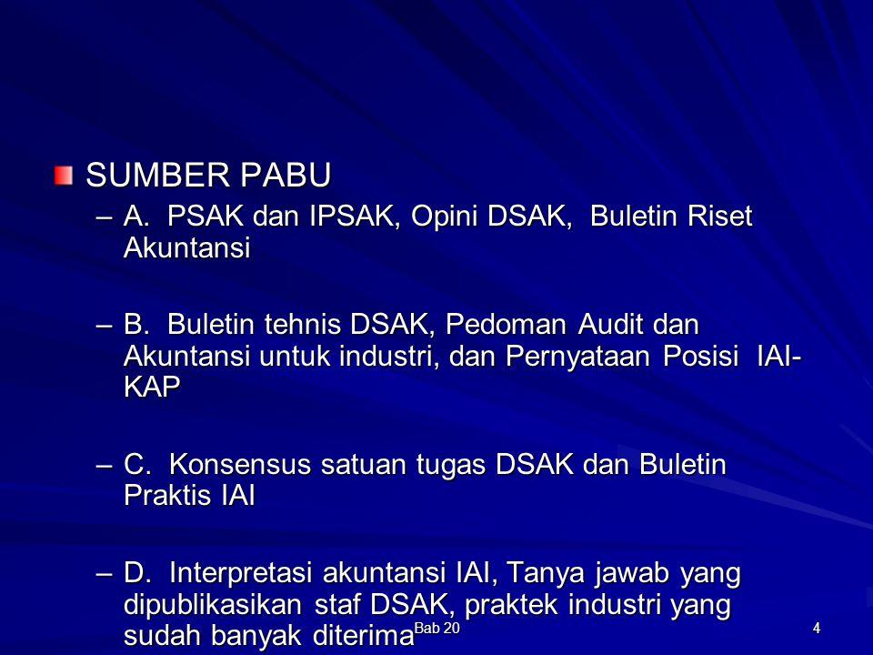 Bab 20 4 SUMBER PABU –A. PSAK dan IPSAK, Opini DSAK, Buletin Riset Akuntansi –B. Buletin tehnis DSAK, Pedoman Audit dan Akuntansi untuk industri, dan
