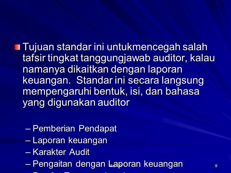 Bab 20 10 Laporan Auditor Standar Judul memuat kata independen Pernyataan laporan keuangan telah diaudit Pernyataan laporan keuangan tanggungjawab manajemen Pernyataan audit dilaksanakan berdasar standar auditing Pernyataan audit telah direncanakan dan diperoleh keyakinan yang memadai Pernyataan audit meliputi: –Pemeriksaan –Prinsip yang mencakup estimasi akuntansi –Penilaian secara keseluruhan Pernyataan audit telah memberikan dasar memadai untuk memberikan pendapat Pendapat kewajaran laporan keuangan yang diaudit Tandatangan, nama rekan, nomor izin akuntan publik, nomor usaha KAP Tanggal laporan auditor