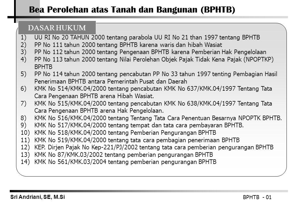 Sri Andriani, SE, M.Si Bea Perolehan atas Tanah dan Bangunan (BPHTB) BPHTB - 01 1)UU RI No 20 TAHUN 2000 tentang parabola UU RI No 21 than 1997 tentan