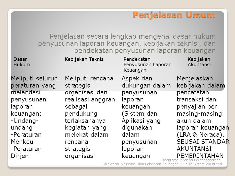 Direktorat Jenderal Perbendaharaan, Direktorat Akuntansi dan Pelaporan Keuangan, SubDit Sistem Akuntansi Penjelasan Umum Penjelasan secara lengkap men