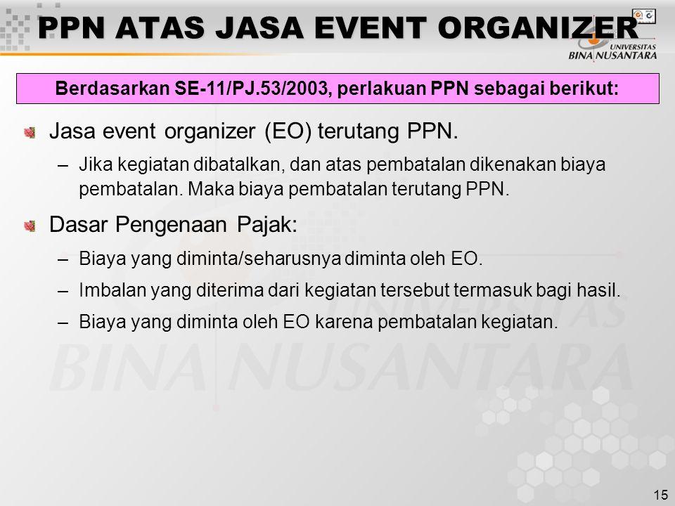 15 PPN ATAS JASA EVENT ORGANIZER Jasa event organizer (EO) terutang PPN. –Jika kegiatan dibatalkan, dan atas pembatalan dikenakan biaya pembatalan. Ma