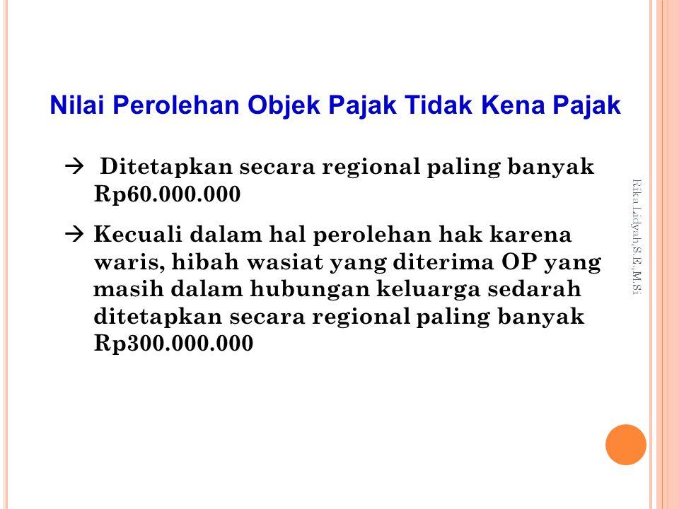 Rika Lidyah,S.E.,M.Si Menghitung Bea Perolehan Hak atas Tanah dan Bangunan BPHTB yang terutang = tarif x NPOPKP = 5% x (NPOP – NPOPTKP)