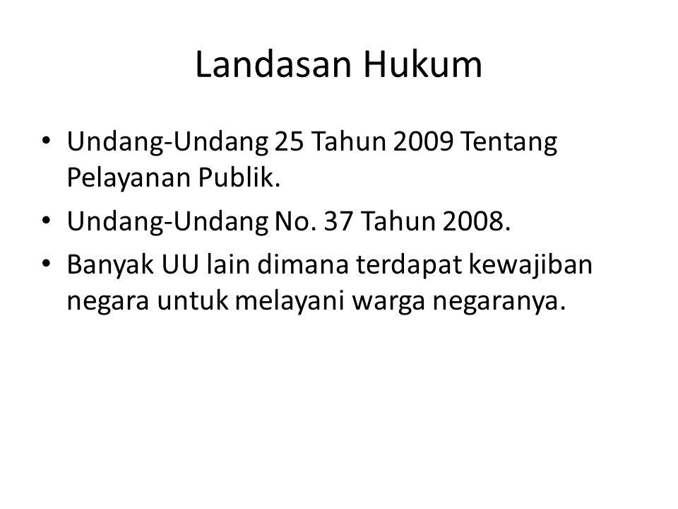 Landasan Hukum Undang-Undang 25 Tahun 2009 Tentang Pelayanan Publik. Undang-Undang No. 37 Tahun 2008. Banyak UU lain dimana terdapat kewajiban negara