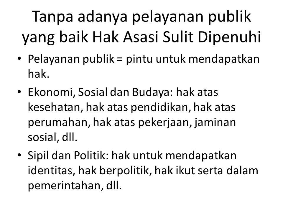 Permasalahan Pelayanan Publik Tidak dilayani Diskriminatif Dipimpong/berbelit-belit/Dipersulit.