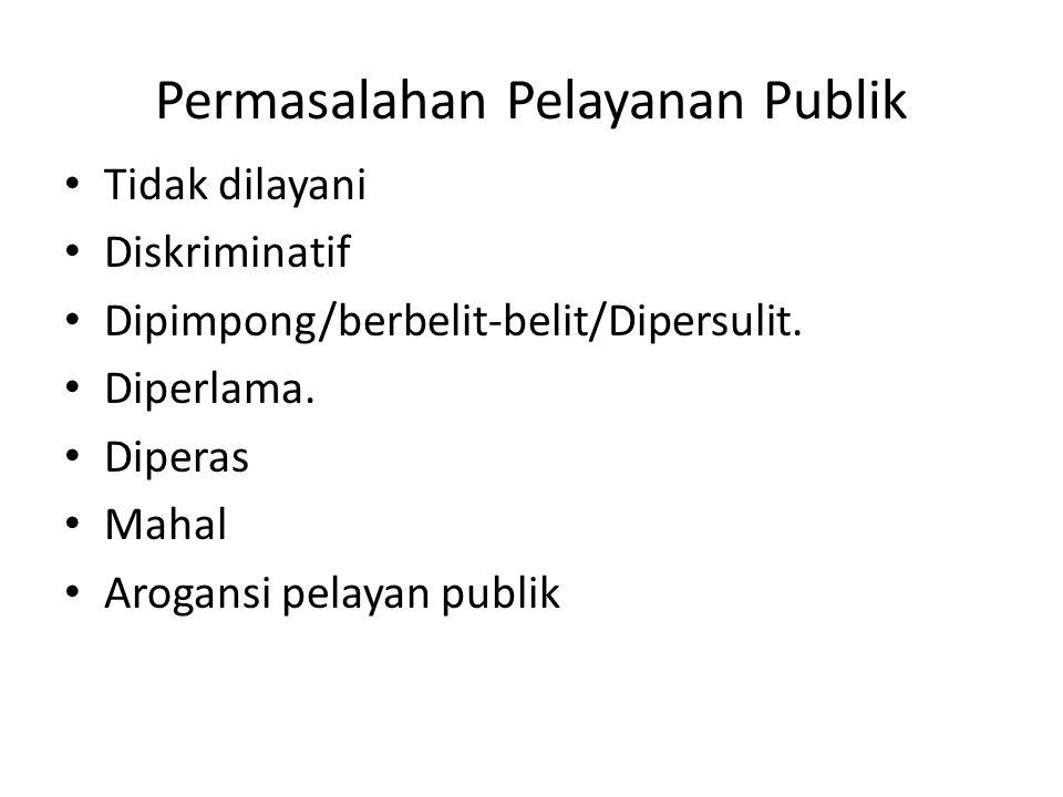 Permasalahan Pelayanan Publik Tidak dilayani Diskriminatif Dipimpong/berbelit-belit/Dipersulit. Diperlama. Diperas Mahal Arogansi pelayan publik
