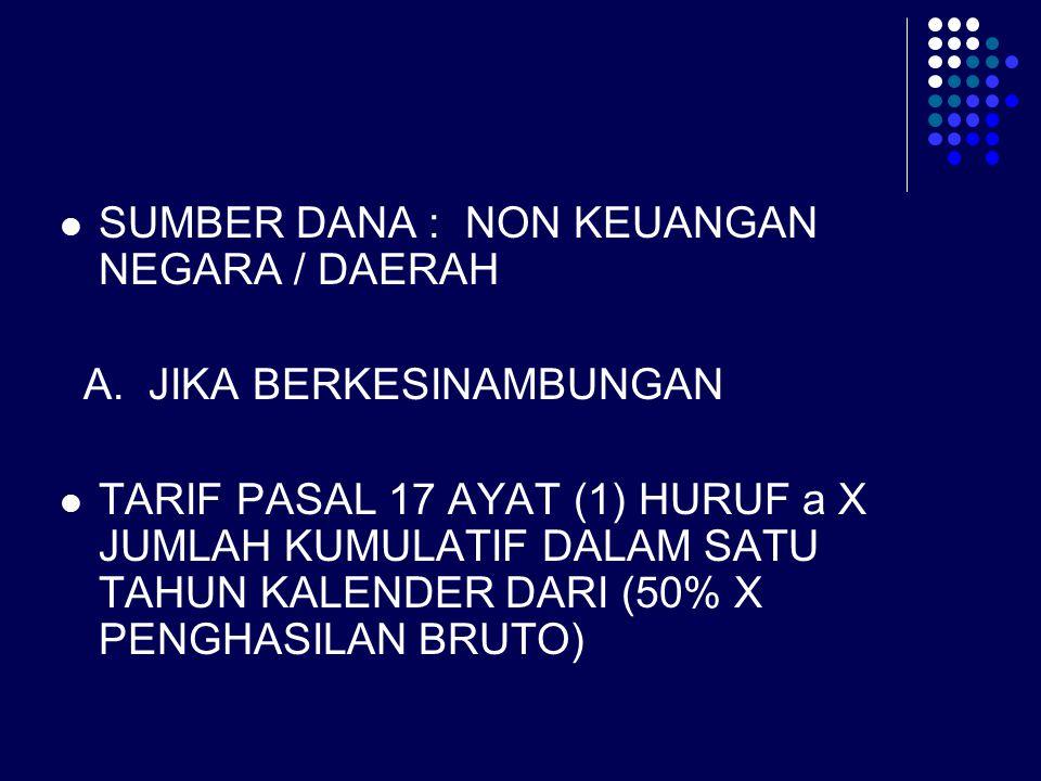 SUMBER DANA : NON KEUANGAN NEGARA / DAERAH A. JIKA BERKESINAMBUNGAN TARIF PASAL 17 AYAT (1) HURUF a X JUMLAH KUMULATIF DALAM SATU TAHUN KALENDER DARI