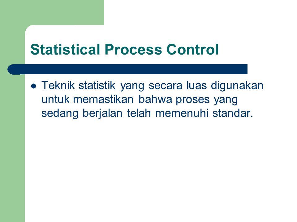 Statistical Process Control Teknik statistik yang secara luas digunakan untuk memastikan bahwa proses yang sedang berjalan telah memenuhi standar.