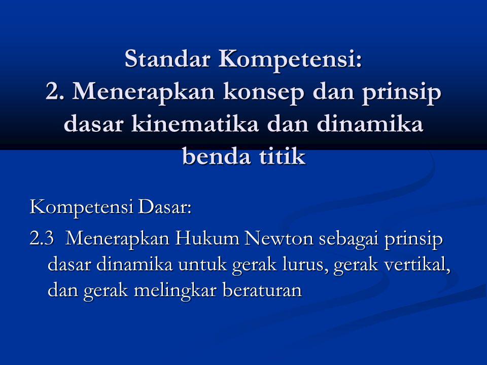Standar Kompetensi: 2. Menerapkan konsep dan prinsip dasar kinematika dan dinamika benda titik Kompetensi Dasar: 2.3 Menerapkan Hukum Newton sebagai p