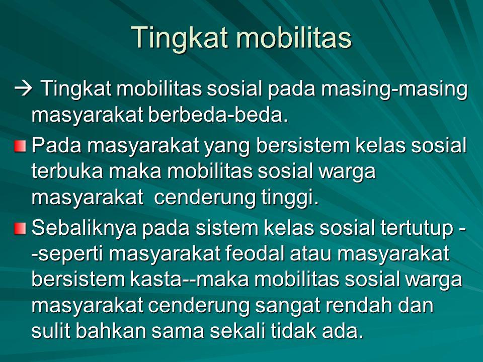 Tingkat mobilitas  Tingkat mobilitas sosial pada masing-masing masyarakat berbeda-beda. Pada masyarakat yang bersistem kelas sosial terbuka maka mobi