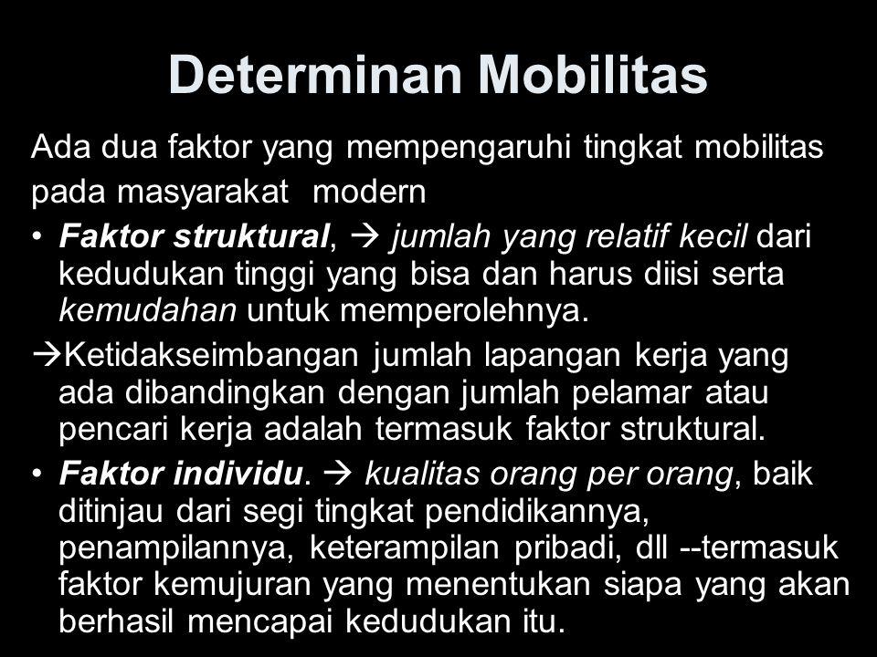 Determinan Mobilitas Ada dua faktor yang mempengaruhi tingkat mobilitas pada masyarakat modern Faktor struktural,  jumlah yang relatif kecil dari ked