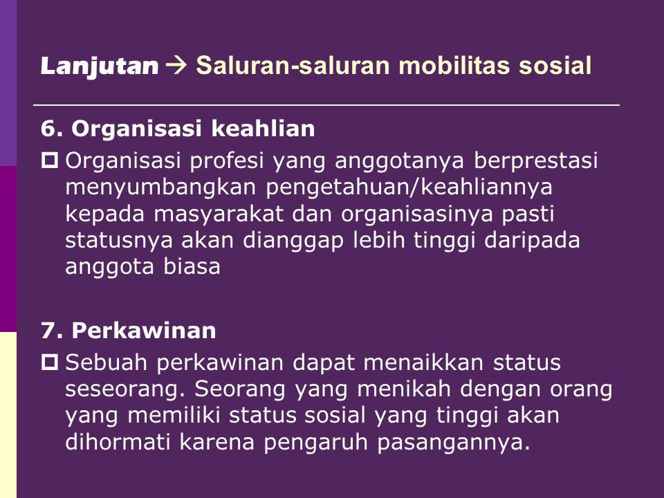 Lanjutan  Saluran-saluran mobilitas sosial 6. Organisasi keahlian  Organisasi profesi yang anggotanya berprestasi menyumbangkan pengetahuan/keahlian
