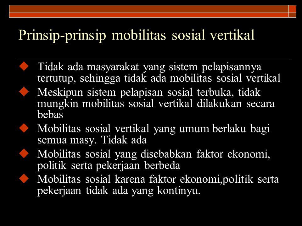 Prinsip-prinsip mobilitas sosial vertikal  Tidak ada masyarakat yang sistem pelapisannya tertutup, sehingga tidak ada mobilitas sosial vertikal  Mes