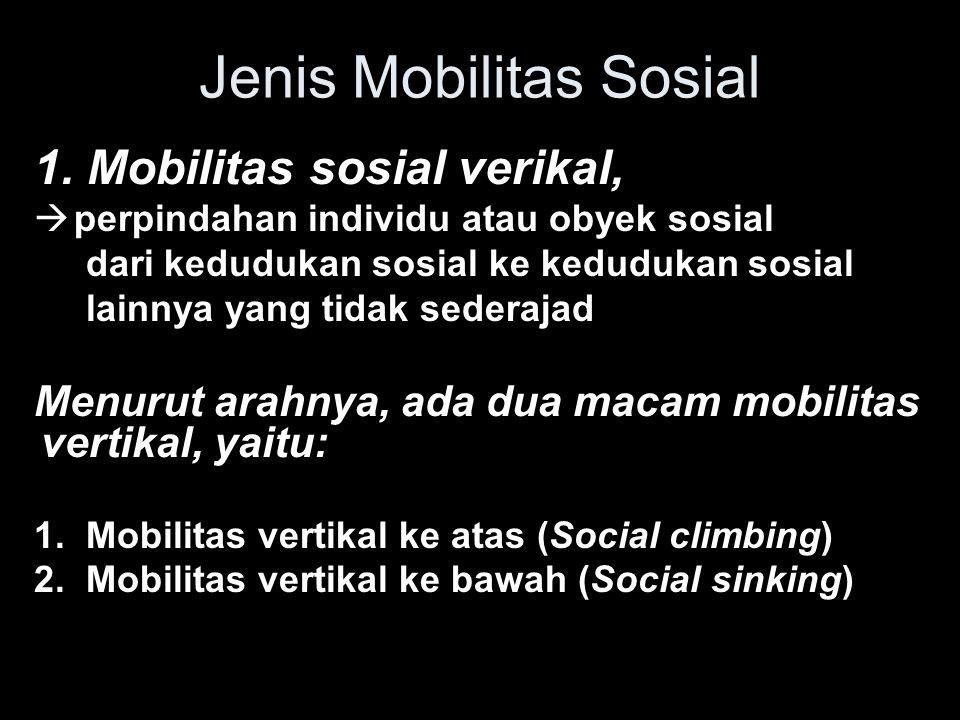 Jenis Mobilitas Sosial 1. Mobilitas sosial verikal,  perpindahan individu atau obyek sosial dari kedudukan sosial ke kedudukan sosial lainnya yang ti
