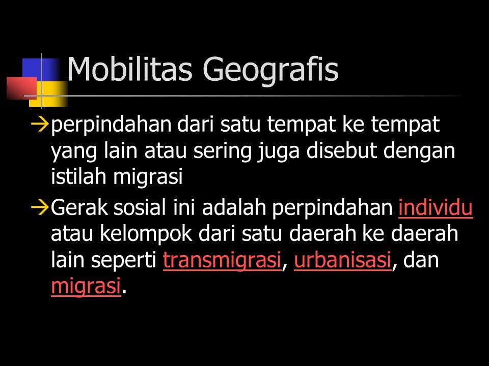 Mobilitas Geografis  perpindahan dari satu tempat ke tempat yang lain atau sering juga disebut dengan istilah migrasi  Gerak sosial ini adalah perpindahan individu atau kelompok dari satu daerah ke daerah lain seperti transmigrasi, urbanisasi, dan migrasi.individutransmigrasiurbanisasi migrasi