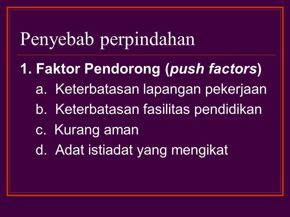 Penyebab perpindahan 1. Faktor Pendorong (push factors) a. Keterbatasan lapangan pekerjaan b. Keterbatasan fasilitas pendidikan c. Kurang aman d. Adat