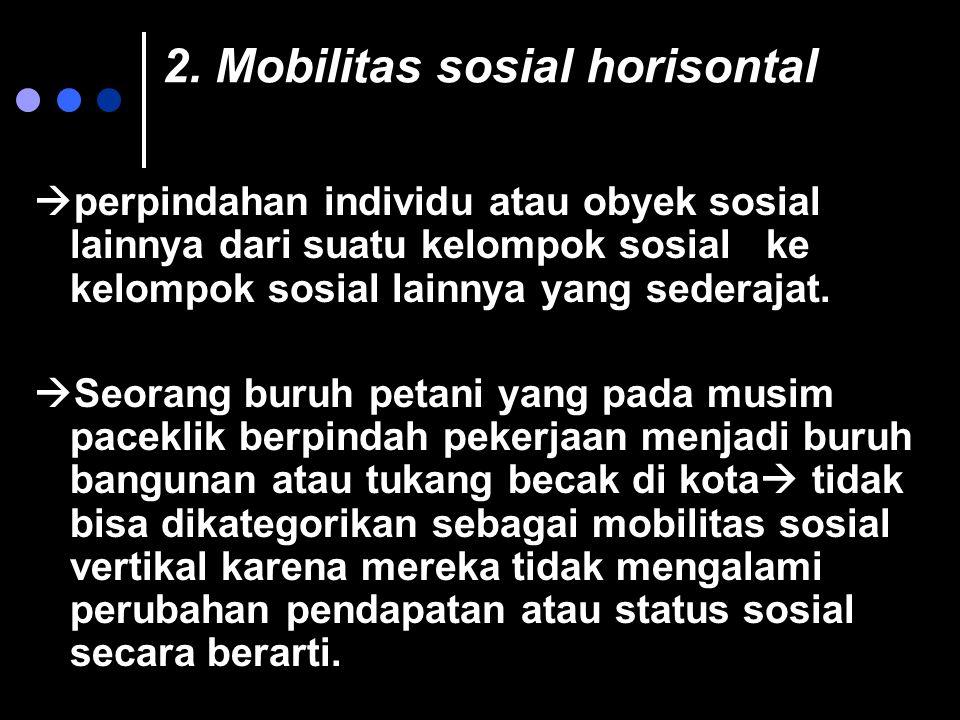 2. Mobilitas sosial horisontal  perpindahan individu atau obyek sosial lainnya dari suatu kelompok sosial ke kelompok sosial lainnya yang sederajat.