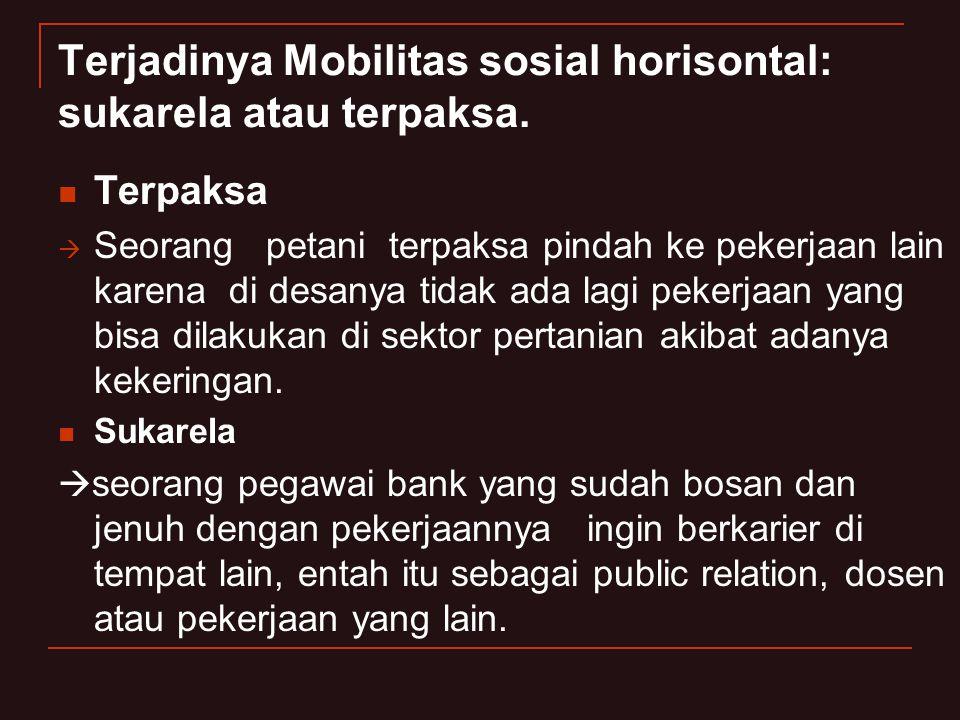 Terjadinya Mobilitas sosial horisontal: sukarela atau terpaksa. Terpaksa  Seorang petani terpaksa pindah ke pekerjaan lain karena di desanya tidak ad