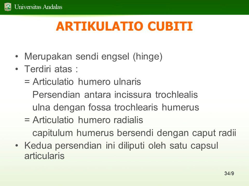 34/9 ARTIKULATIO CUBITI Merupakan sendi engsel (hinge) Terdiri atas : = Articulatio humero ulnaris Persendian antara incissura trochlealis ulna dengan