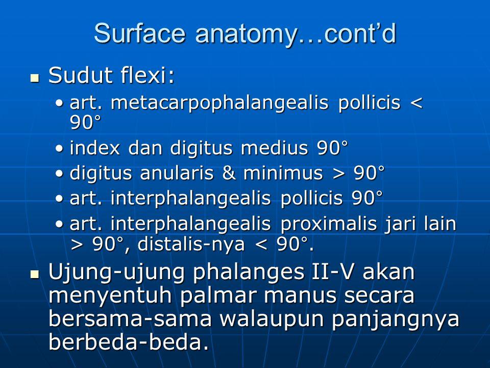 Surface anatomy…cont'd Sudut flexi: Sudut flexi: art. metacarpophalangealis pollicis < 90°art. metacarpophalangealis pollicis < 90° index dan digitus