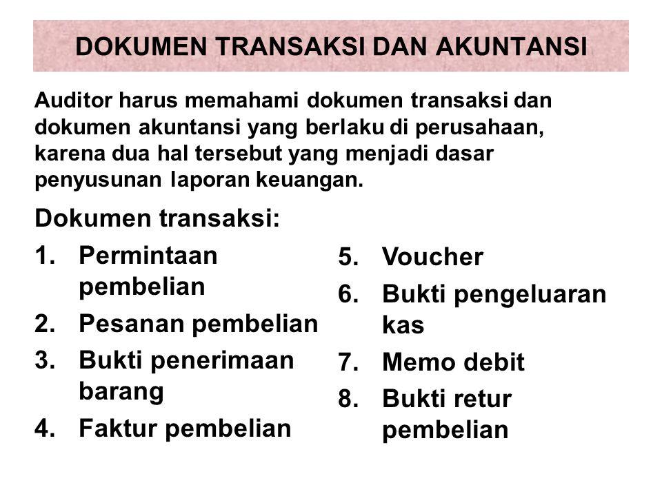 DOKUMEN TRANSAKSI DAN AKUNTANSI Dokumen transaksi: 1.Permintaan pembelian 2.Pesanan pembelian 3.Bukti penerimaan barang 4.Faktur pembelian Auditor har