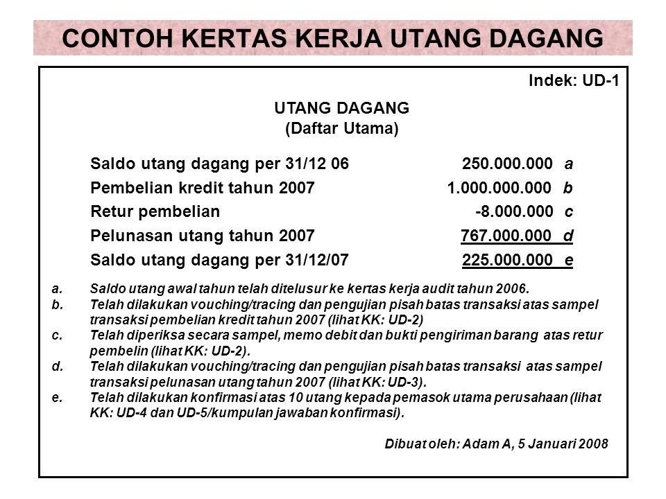 CONTOH KERTAS KERJA UTANG DAGANG Saldo utang dagang per 31/12 06250.000.000 a Pembelian kredit tahun 20071.000.000.000 b Retur pembelian-8.000.000 c P