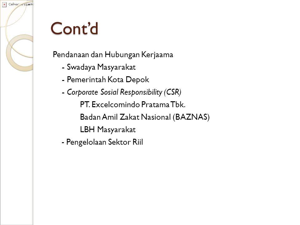 Cont'd Pendanaan dan Hubungan Kerjaama - Swadaya Masyarakat - Pemerintah Kota Depok - Corporate Sosial Responsibility (CSR) PT. Excelcomindo Pratama T