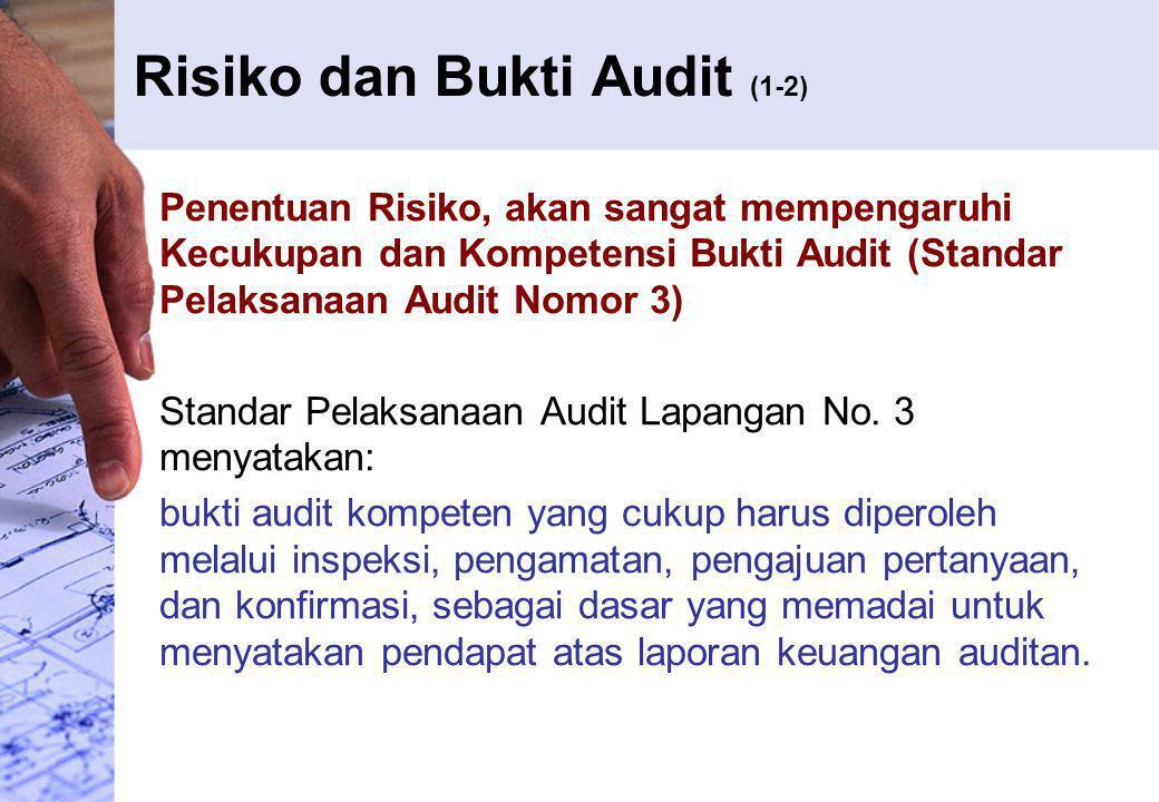 Risiko dan Bukti Audit (1-2) Penentuan Risiko, akan sangat mempengaruhi Kecukupan dan Kompetensi Bukti Audit (Standar Pelaksanaan Audit Nomor 3) Stand