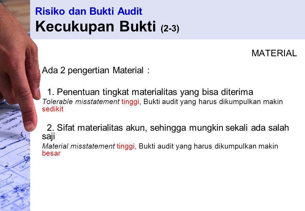 Risiko dan Bukti Audit Kecukupan Bukti (2-3) MATERIAL Ada 2 pengertian Material : 1. Penentuan tingkat materialitas yang bisa diterima Tolerable misst