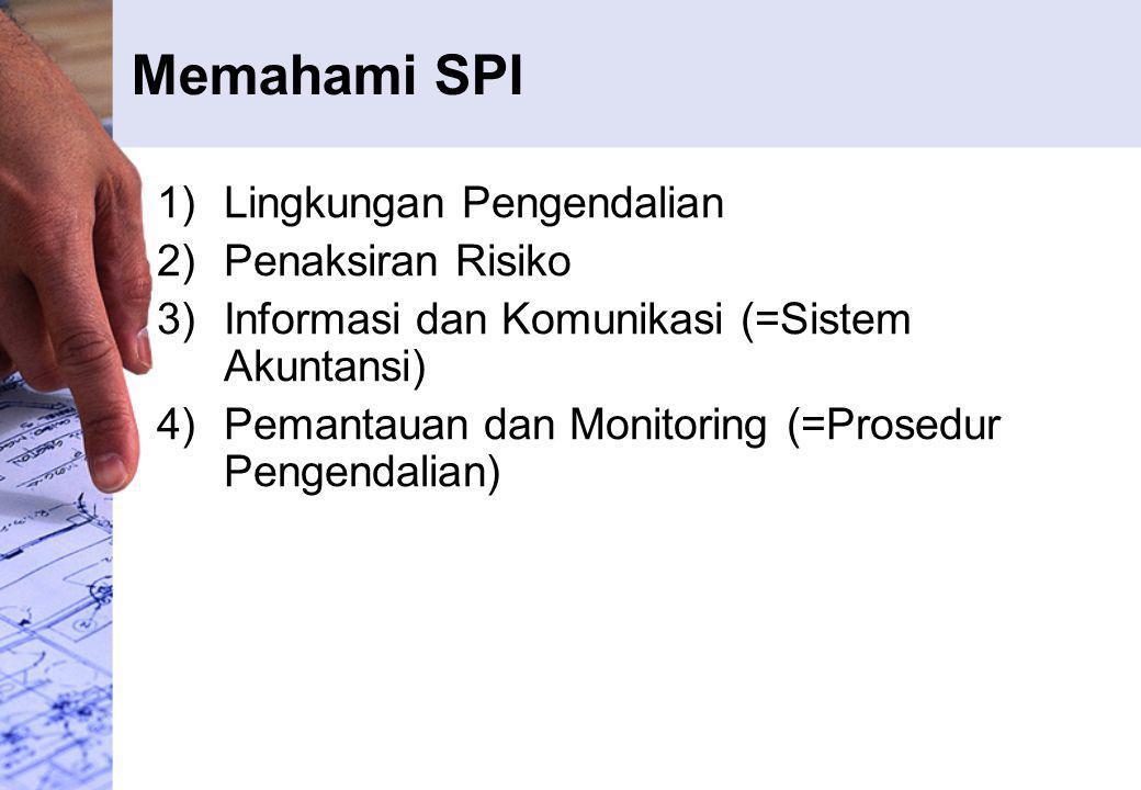 Memahami SPI 1)Lingkungan Pengendalian 2)Penaksiran Risiko 3)Informasi dan Komunikasi (=Sistem Akuntansi) 4)Pemantauan dan Monitoring (=Prosedur Penge