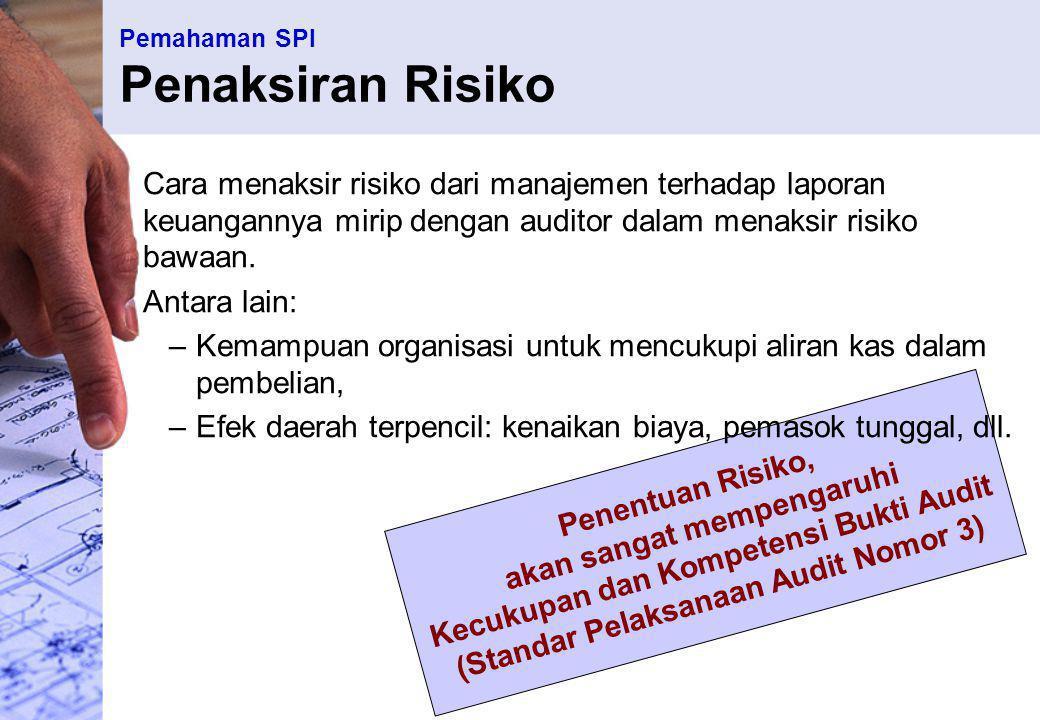 Pemahaman SPI Informasi dan Komunikasi Sistem akuntansi perusahaan SEHARUSNYA bisa menyediakan audit trail yang lengkap atas tiap transaksi Auditor dituntut untuk memahami : metode pemrosesan data, dokumen dan catatan yang digunakan, reviu ulang pengalaman terdahulu dengan organisasi auditan