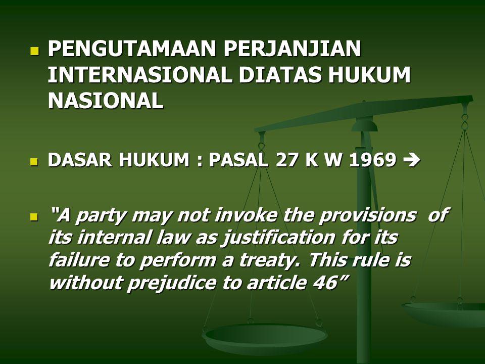 PENGUTAMAAN PERJANJIAN INTERNASIONAL DIATAS HUKUM NASIONAL PENGUTAMAAN PERJANJIAN INTERNASIONAL DIATAS HUKUM NASIONAL DASAR HUKUM : PASAL 27 K W 1969