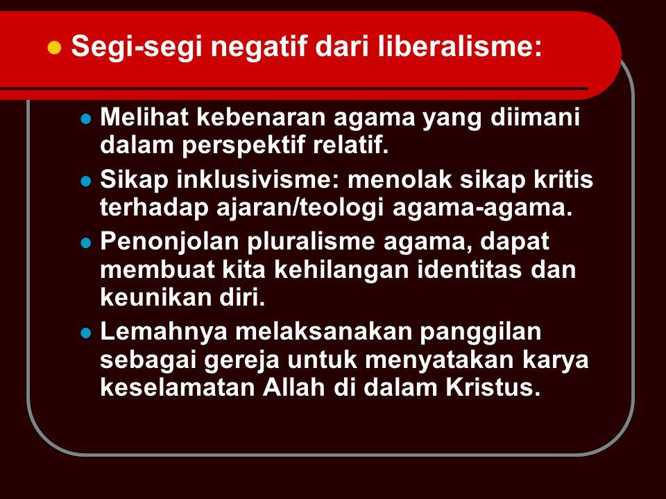 Segi-segi negatif dari liberalisme: Melihat kebenaran agama yang diimani dalam perspektif relatif.