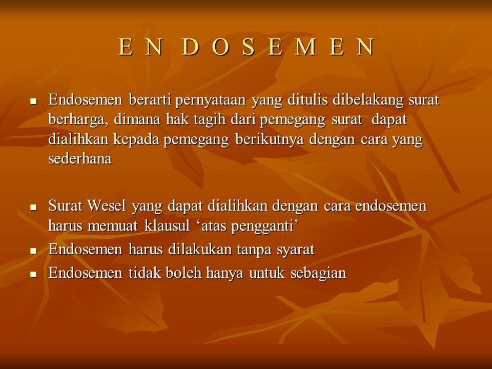 WESEL INCASSO Jakarta, 8 Maret 1977 Jakarta, 8 Maret 1977 Pada tanggal 30 Maret 1977 bayarlah wesel ini untuk perhitungan Tuan Zidan kepada PT. Senyum