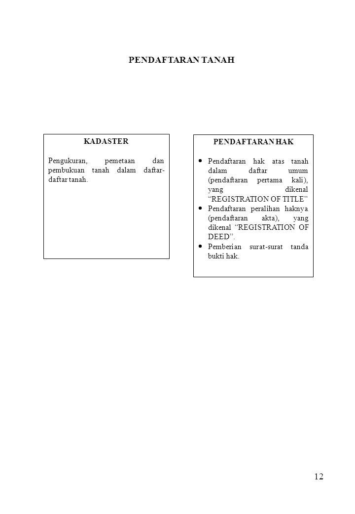 12 KADASTER Pengukuran, pemetaan dan pembukuan tanah dalam daftar- daftar tanah. PENDAFTARAN HAK  Pendaftaran hak atas tanah dalam daftar umum (penda