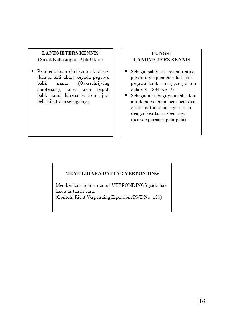 16 LANDMETERS KENNIS (Surat Keterangan Ahli Ukur)  Pemberitahuan dari kantor kadaster (kantor ahli ukur) kepada pegawai balik nama (Overschrijving am