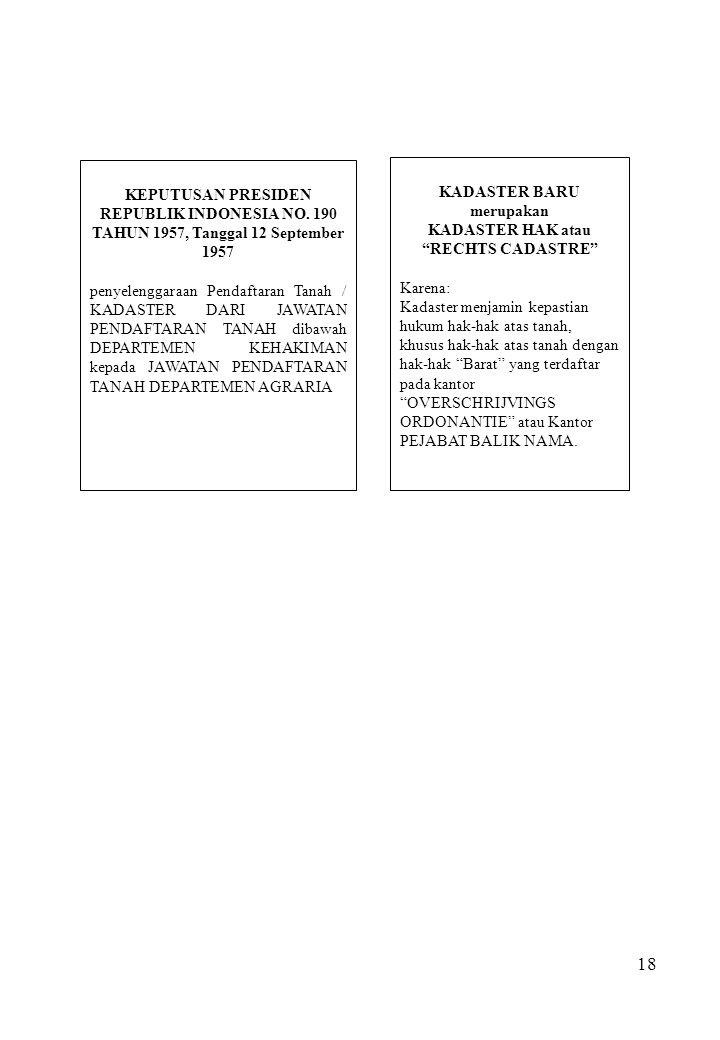 18 KEPUTUSAN PRESIDEN REPUBLIK INDONESIA NO. 190 TAHUN 1957, Tanggal 12 September 1957 penyelenggaraan Pendaftaran Tanah / KADASTER DARI JAWATAN PENDA