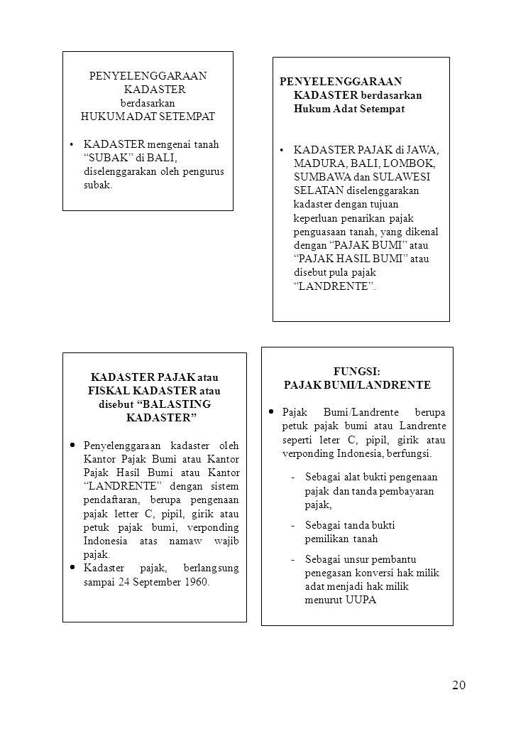 """20 PENYELENGGARAAN KADASTER berdasarkan HUKUM ADAT SETEMPAT KADASTER mengenai tanah """"SUBAK"""" di BALI, diselenggarakan oleh pengurus subak. KADASTER PAJ"""