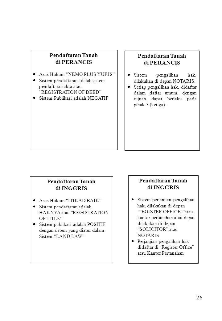 """26 Pendaftaran Tanah di PERANCIS  Asas Hukum """"NEMO PLUS YURIS""""  Sistem pendaftaran adalah sistem pendaftaran akta atau """"REGISTRATION OF DEED""""  Sist"""