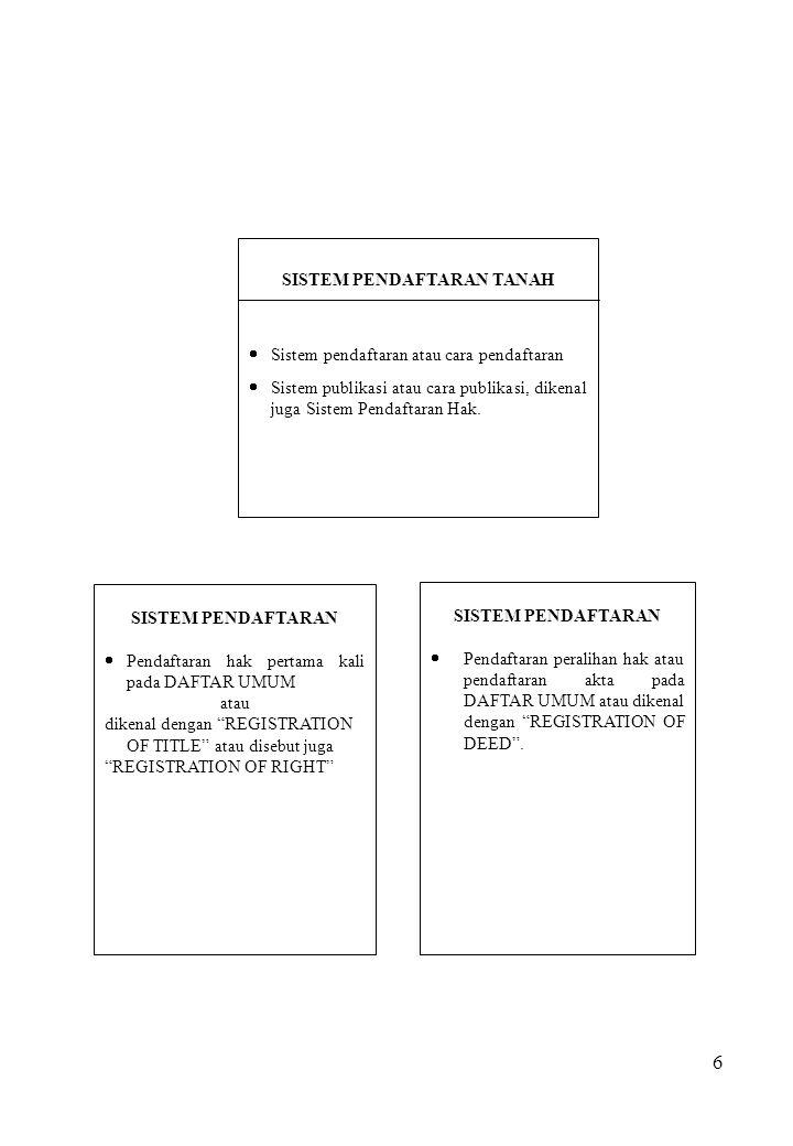 6 SISTEM PENDAFTARAN TANAH  Sistem pendaftaran atau cara pendaftaran  Sistem publikasi atau cara publikasi, dikenal juga Sistem Pendaftaran Hak. SIS